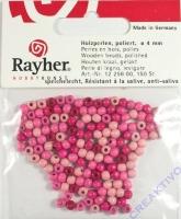 Holzperlen 4mm 150 St. Pink-Töne (Restbestand)