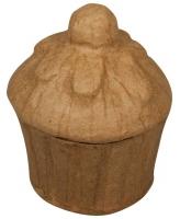 Pappmaché Muffin Dose, 6,5x8cm