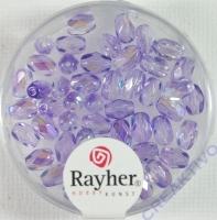 Glas-Schliffperlen, Olive 6/4mm irisierend flieder