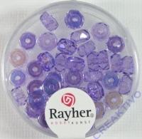 Glas-Schliffperlen, Radl 6x3 mm irisierend flieder