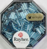 Miyuki Glasstifte mit Silbereinzug aquamarin