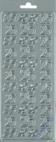 Rayher Stickerbogen 25 22x9cm silberf.