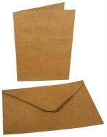 Doppelkarte + Umschlag klein 4er-Set karamell