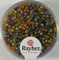 Rocailles 2 mm ø mit Silbereinzug gemischt