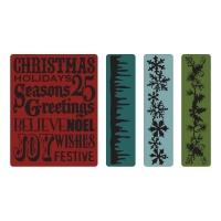 Sizzix Tim Holtz Alterations Christmas Background & Borders Set