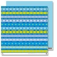 Scrapbooking Papier Karen Marie Klip - Danke babyblau