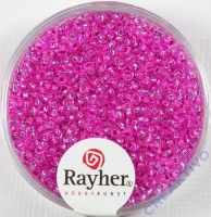 Rocailles 2 mm ø mit Silbereinzug pink