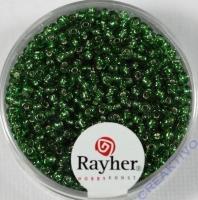 Rocailles 2 mm ø mit Silbereinzug grün