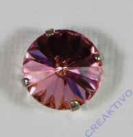 Glasstein 14mm von Swarovski im 4-Loch-Kessel light rose