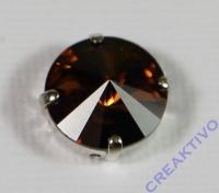 Glasstein 14mm von Swarovski im 4-Loch-Kessel rauchtopas