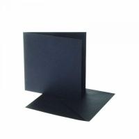 Karten und Umschläge , 12,5x12,5 cm, schwarz, 10 Set (Restbestand)