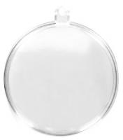 Plastik Medallion zweiteilig kristall 6cm