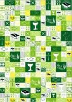 Bastelkarton Kommunion / Konfirmation grün Patchwork