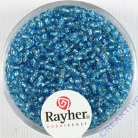 Rocailles 2 mm ø mit Silbereinzug türkis