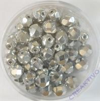 Glasschliffperle silberfarben 6mm bedampft