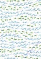 Transparentpapier A4 Mosaik - Fische und Wellen silber