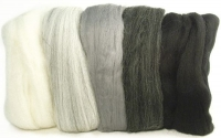 Merino-Kammzug superfein schwarz-weiß-grau-Töne