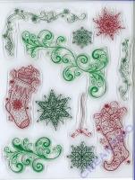 Silikon-Stempel Weihnachtsstrümpfe & Schnörkel