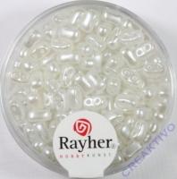 Doppelloch-Rocailles verwachst 3x5mm weiß