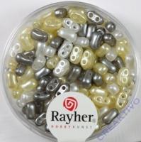 Doppelloch-Rocailles verwachst 3x5mm Mix weiß