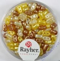 Doppelloch-Rocailles verwachst 3x5mm Mix gelb