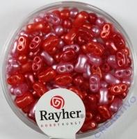 Doppelloch-Rocailles verwachst 3x5mm Mix rot