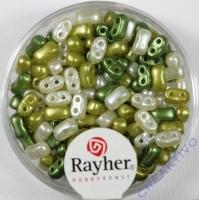 Doppelloch-Rocailles verwachst 3x5mm Mix olive
