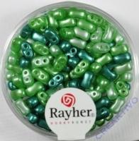 Doppelloch-Rocailles verwachst 3x5mm Mix grün