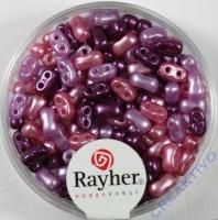 Doppelloch-Rocailles verwachst 3x5mm Mix lila