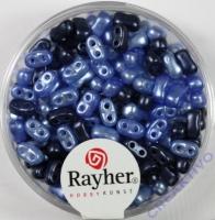 Doppelloch-Rocailles verwachst 3x5mm Mix blau