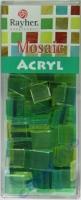 Acryl-Mosaik, 1x1 cm, transparent, lindgrün