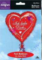 Folienballon Ich liebe Dich 18 / 45cm