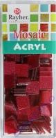 Acryl-Mosaik, 1x1 cm, Glitter, bordeaux