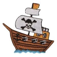 Fun Patches Stoff Aufbügelmotiv Piratenschiff, 6x6,5cm