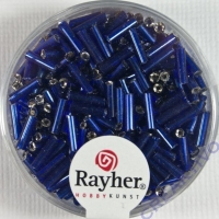 Glasstifte, 7/2 mm, mit Silbereinzug dunkelblau