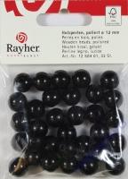 Rayher Holzperlen FSC, poliert 14mm 18St schwarz