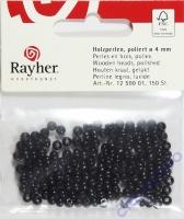 Rayher Holzperlen FSC, poliert 4mm 150St schwarz