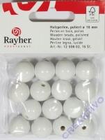 Rayher Holzperlen FSC, poliert 16mm 15St weiß
