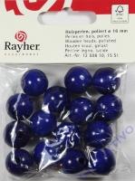 Rayher Holzperlen, poliert FSC 16mm 15St dunkelblau