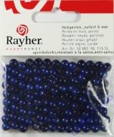 Rayher Holzperlen FSC, poliert 6mm 115St dunkelblau