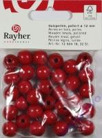 Rayher Holzperlen FSC, poliert 12mm 32St rot
