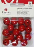 Rayher Holzperlen FSC, poliert 16mm 15St rot