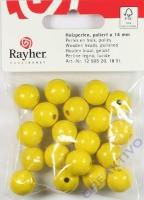 Rayher Holzperlen FSC, poliert 14mm 18St gelb