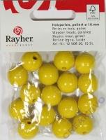 Rayher Holzperlen FSC, poliert 16mm 15St gelb