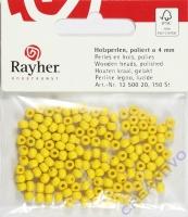 Rauher Holzperlen FSC, poliert 4mm 150St gelb