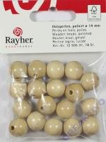 Rayher Holzperlen FSC, poliert 14mm 18St natur