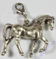 Pracht Metall-Anhänger mit Karabiner Pferd groß platin antik