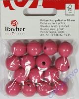Rayher Holzperlen FSC, poliert 16mm 15St pink