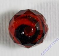 Glasschliffperle Briolette 12mm dunkelrot schwarz
