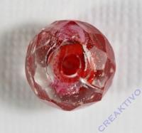 Glasschliffperle Rosenperle 12mm rot